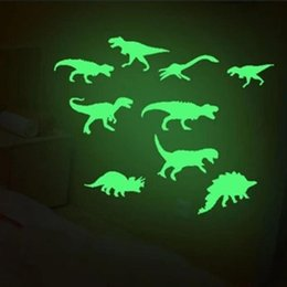 Discount glowing dinosaur toy 9Pcs Light Wall Sticker Home Decor Fluorescence Glow In The Dark Dinosaurs Toys Stickers Ceiling Decal Baby Kid Room Lum