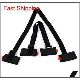 Adjustable Skiing Pole Shoulder Hand Carrier Lash Handle Straps Porter Hook Loop Protecting Black Nylon Ski Handle Strap Bags Kttq2 on Sale