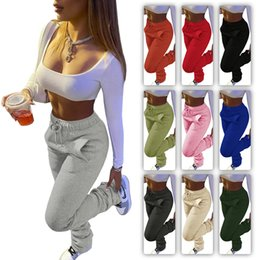 Wholesale women blue sweaters resale online - Women Pants Solid Colour Heavy Sweater Fabric Sports Casual Drawstring Stack Trousers With Pockets Ladies Fashion Leggings