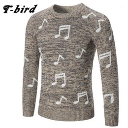 Wholesale knit sweater bird for sale - Group buy T Bird Fashion Clothing Men Note Printing Sweater Simple O Neck Slim Fit Casual Pullover Men Sweaters Knitting Mens1