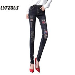 Wholesale ripped jeans woman for sale - Group buy Women New Fashion Ripped Jeans With Embroidery Cuffs Patches Woamn Plus Size Skinny Denim Pants Pencil Jeans Streetwear Trousers