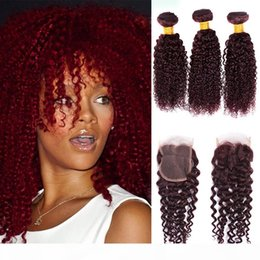 burgundy curly human hair weave NZ - Burgundy Curly Wave Brazilian Virgin Hair Red Raw Kinky Curly Ocean Wave 99j Human Hair Weave Wet 3 Bundles With 4x4 Lace Closure