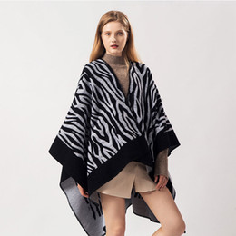 Wholesale geometric shawl cape resale online - Brand Designer Geometric Cashmere Scarf Women Fork Opening Ponchos Ladies Winter Pashmina Thicken Warm Shawls and Capes