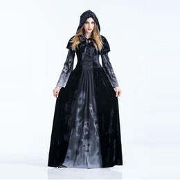 costume hoodies Australia - Halloween Costumes Hoodie Witch Costume Women Long Dress Cosplay Clothes Black Long Dress1