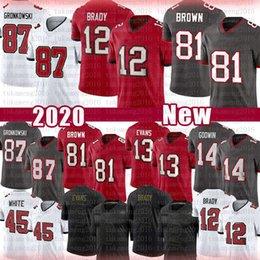 12 Tom Brady 81 Antonio Brown 87 Rob Gronkowski Football Jersey 13 Mike Evans 14 Chris Godwin TampaBay Buccaneer45 Devin Branco em Promoção