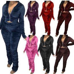 Wholesale ladies velvet suits resale online – Sexy Women Clothing New Velvet Piece Set Pleated Long Sleeve Zipper Jacket Trousers Outfits Ladies Plus Size Casual Suit