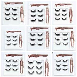 Wholesale 3 Pairs Magnetic Eyelashes False Lashes + Liquid Magnetic Eyeliner + Tweezer Eye makeup set 3D Magnet False Eyelash Cosmetics Tools F101907