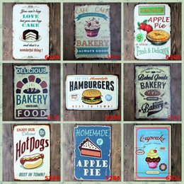 Wholesale poster designs resale online - Metal Tin Signs Vintage Cake Hamburger Tin Sign Bar Wall Metal Paintings Art Poster Pub Hotel Restaurant Home Decor Designs BWB1313