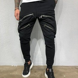 ingrosso pantaloni da jogging maschili-Autunno e inverno New Men s Jogging fitness Slim Fashion Casual Sports Pants Tide
