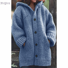 Misshow Women Oversized Warm Sweaters Hooded Buttons Autumn Winter Knitted Pull Femme Warm Loose Ladies Sweaters S-5XL 201016