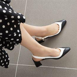 2020 Back Strap Women Sandals Summer Shoes Pointed Toe Chunky Med Heels Party Dress Shoes Slip On Sandals New Arrivals Elegant jzsJ#
