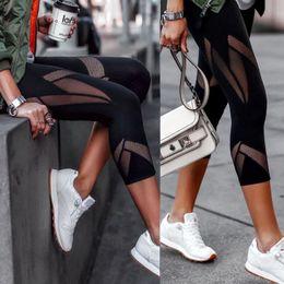 Wholesale capri jeggings resale online – Black Patchwork Mesh Leggings Women s Jeggings Legins Female Elastic Pant Capri Women Fitness Leggings Drop Shipping