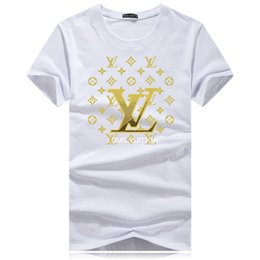 mercerized cotton t shirts UK - Louîs Vuittõn Designer Embroidery Men T-shirts 2020 Spring Summer New Mercerized Cotton Fashion O-neck Solid Short Sleeve Tees
