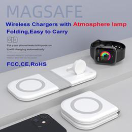2 em 1 15w carregador sem fio Magsafe Magsafe com lâmpada para iPhone 12 iPhone13 Mini Pro Max Telefones móveis Iwatch Qi Device em Promoção