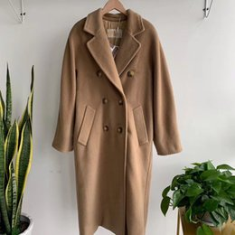 Fashion WOOL CASHMERE LONG trench Drop Shoulder Oversized Coat Double Breasted Waist Belt Long Sleeved Sides Pockets 201031