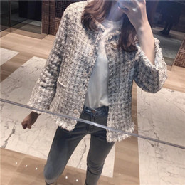 Wholesale new jackets designs ladies resale online - Elegant Design New Womens Blends Tweed Jackets Top Brand Qualities Single Breasted O Neck Spring Autumn Ladies Outerwear Coats