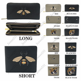 Wholesale korean women for sale - Group buy High quality men animal Short Wallet Leather black snake Tiger bee Wallets Women Long Style Purse Wallet card Holders with gift box
