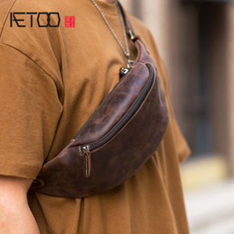 first cell phones NZ - Zipper Bag Fashion Waist Retro First Original Crazy Horse Phone Cowhide Leather Multifunctional HBP Mobile Layer Handmade AETOO Ches Gjnfj