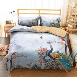 peacock print clothes 2021 - Bed Cover 3D Home Textile Peacocks and Magpie Pattern Blue Bedding Clothes with Pillowcases King Queen Size1