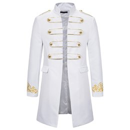 Wholesale white military suit resale online - White Stand Collar Embroidery Blazer Men Military Dress Tuxedo Blazer Men Suit Jacket Nightclub Stage Cosplay Blazer Masculino