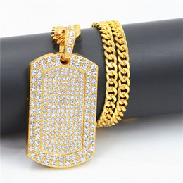 Wholesale dog american resale online - Mens Hip Hop Necklace Jewelry Full Rhinestone Iced Out Dog Tag Pendant Gold Necklace For Men N2