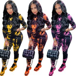 Wholesale womens jogging suits resale online – Womens Two Piece Tracksuits Winter New Tie Dye Hoods Print Jogging Suits Long Sleeve Trousers Sports Suits Designers Clothes