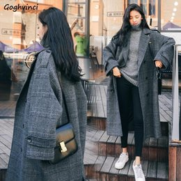 Wholesale winter clothes for plus size ladies resale online - Wool Coat Women Plus Size Plaid Feminino Elegant Long Double Breasted Womens Winter Clothing Blends for Ladies Korean Fashion