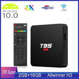 Discount ott tv box android player T95 Super Smart Android 10 TV Box Allwinner H3 GPU G31 2GB DDR3 RAM 16GB 2.4G WiFi HD OTT Media Player