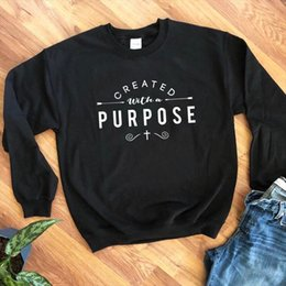 Discount create a hoodie Created With A Purpose Arrow Sweatshirt Men Women long Sleeve Christian Bible Hoodies New Causal Graphic Pullovers Jesus