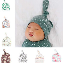 Wholesale summer tires for sale – custom Infant Hat Print Baby Cap Toddler Boy Girl Cap Spring Summer months Pure Cotton Tire Hat Newborn Photography Props Baby Caps EWB2755