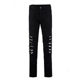 Wholesale hip hop trousers zips resale online – Tight men s trousers fashion personality trend Korean version of the self cultivation feet stretch knee zip large size hip hop
