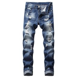 Wholesale designs for jeans for sale – denim Jeans denim style hole destroyed design tattered blue long jeans Men Slim Body plus size casual hip hop for man
