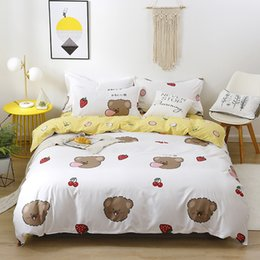 king sized bedding sets Canada - cartoon bear bedding set Korea style modern bed linen duvet cover pillowcase bed sheet sets for adult kids queen king size 1012