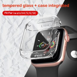 Venta al por mayor de Funda de vidrio templado transparente para iWatch 4 5 6 SE Soft TPU Cobertura completa para accesorios de reloj de Apple Cajas protectoras