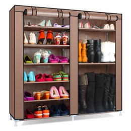 quality living room furniture UK - Solid Color Double Rows High Quality Shoes Cabinet Shoes Rack Large Capacity Shoes Storage Organizer Shelves DIY Home Furniture 201030