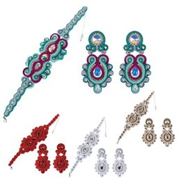 Exquisite blue and silver soutache set Shiny bracelet and hoop earrings