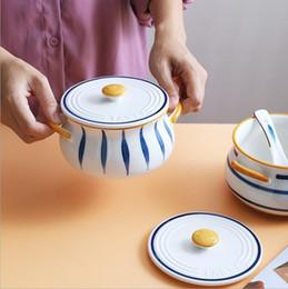 Großhandel Handgemalte doppelte Ohrschüssel keramische Frühstücksschüssel mit deckender kreativer und einfacher Haushaltssuppe-Schüssel und Vogelnest-Taschenbecher