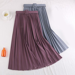 Wholesale mid calf pleated skirt chiffon for sale - Group buy Women Elegant Skirts Retro Pleated Sweet High Waist Skirt with Belt Chiffon Mid Calf Long Skirt Ladies Red Coffee Pink Dress New1