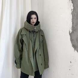 Wholesale military style jacket xl woman for sale – winter LANMREM women autumn New oversizae green black jackets personality niche multi level hooded trendy Military style jacket YJ977