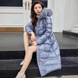 Wholesale long black fox fur collars resale online - Winter Long Jacket Coat Women Pink Black Waterproof Down Parka Large Real Fox Fur Collar Hooded Warm Thick Coats Snow Wear