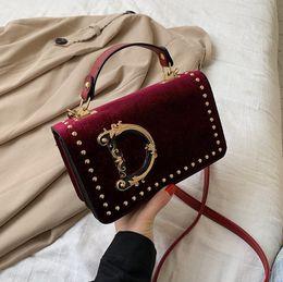 Fashion Letter Shoulder Bags Velet Women Crossbody Bag Luxurys Handbag Rivet Design Messager Bags Outdoor Travel Handbags Phone Pouch INS on Sale