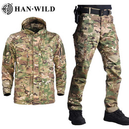 Wholesale m65 military jackets for sale - Group buy HAN WILD M65 Tactical Jacket Suits Camouflage Jacket Set Men Army Hunting Jackets Military Jacket Pants Windbreaker Waterproof
