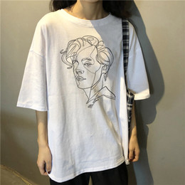 harry styles shirts UK - Harry Style Aesthetic Art Painting Treat People with Kindness Summer Women's Gothic Casual Harajuku Short Sleeve T-shirt