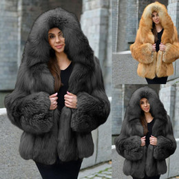 Wholesale womens winter fur hood coat resale online - Womens Fashion Solid Color Casual Thickening Winter Warmth Loose Faux Coat Jacket Female Fashion Clothing Tops