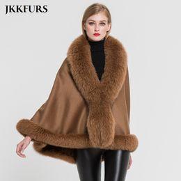Wholesale cashmere capes fox fur for sale - Group buy JKKFURS Women s Poncho Genuine Fox Fur Collar Trim Cashmere Cape Wool Fashion Style Autumn Winter Warm Coat S7358