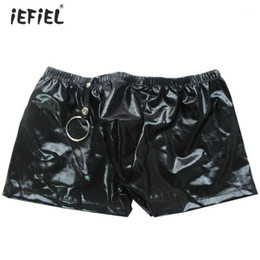 Wholesale faux leather panties for sale - Group buy Sexy Mens Faux Leather Boxer Shorts Underwear Lingerie Sissy Panties Soft and Stretchy Mens Underwear Boxers With A Metal Ring1