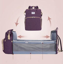 Diaper Bag Multifunctional Crib Bed Mummy Backpacks Portable Baby Nappy Backpack Travel Shop Handbag Back Pack Maternity Baby Care DW5962 on Sale