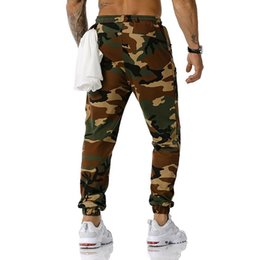 Discount camo sweatpants Mens Joggers Pants Fitness Camo Trousers Jogging Sweatpants Men Casual Hip Hop Streetwear Sports Trousers with Zipper Pockets