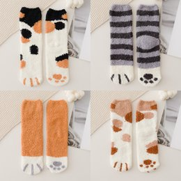 wholesale paw print Australia - 20 half Stockings and socks suede coral stockings children's paws in autumn and winter thicken warm floor sleeping month baby pile socks Myp