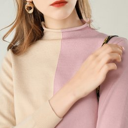 Wholesale korean necked models resale online - 2019 new autumn and winter models Korean version of the round neck sweater women s color long sleeve loose sweater